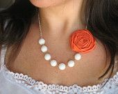 Waves and Sand fabric flower necklace beaded rosette