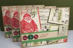 Christmas Holiday Cards Vintage Santa Red Green Brown Set of 3