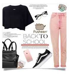 Back to School With Pusheen by fashion-bea-16 on Polyvore featuring mode, Off-White, Topshop, Vans, Givenchy, ZeroUV, Pusheen, contestentry and PVxPusheen
