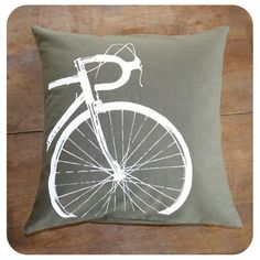 subtle touches of bike things in every room...throw pillow for couch