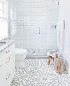 25 Wonderful Small Bathroom Floor Tile Design Ideas To Inspire You design lighting tiles bathroom decor bathroom bathroom bathroom decor bathroom ideas bathroom Bathroom Floor Tiles, Bathroom Renos, Bathroom Renovations, Remodel Bathroom, Bathroom Mirrors, Bathroom Cabinets, Shower Floor Tile, Shower Grout, White Subway Tile Bathroom