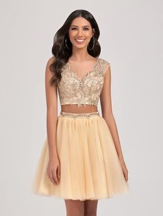 Val Stefani Cocktail | Style 3377RD | Sequin short holiday dress with crisscross back for a semi-formal dance
