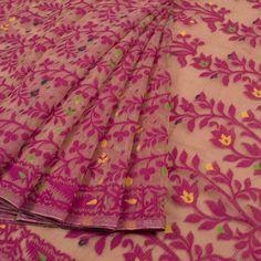 Buy online Handwoven Dhakai Jamdani Cotton Saree with Floral Motifs & without Blouse 10042102 Cotton Saree, Silk Sarees, Dhakai Jamdani Saree, Bridal Blouse Designs, Floral Motif, Hand Weaving, Paisley, Delicate, Sari
