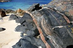 Lewisian Gneiss Rock, Isle of Lewis -the Geology of the Outer Hebrides is  important - as the predominant rock type is a Lewisian Gneiss - a metamorphic rock which is astonishingly up to 3 billion years old, making it the oldest rock in Britain - two thirds the age of the Earth.
