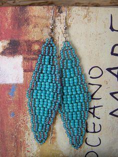 Earrings in Turquoise and Mauve, Bohemian Handbeaded Diamond Shape Dangles, Rhombus Shaped Earrings by ariearts