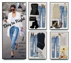 """Day to Night Denim Look"" by fashion-architect-style ❤ liked on Polyvore featuring Dricoper, Current/Elliott, Alberta Ferretti, Henri Bendel, Alexander Wang, Jil Sander, Jimmy Choo, Versace, Blumarine and KOTUR"