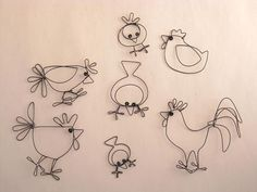 wire sketches of birds