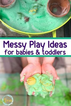 Messy play ideas for babies and toddlers, plus tested ways to embrace and contain the mess. Read the benefits of messy play for kids! #messyplayideas #messyplay #sensoryplay #sensoryplayforkids #babies #activitiesfor1yearolds #toddlers