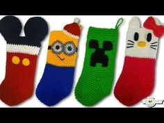 Attempt these FREE crochet patterns!The Jayda InStitches Present 2015 Crochet Christmas Stocking Pattern, Crochet Stocking, Crochet Christmas Ornaments, Holiday Crochet, Crochet Christmas Stockings, Crochet Dolls Free Patterns, Crochet Beanie Pattern, Baby Knitting Patterns, Disney Stockings
