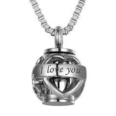VALYRIA Pet Memorial Pet Paw Beads Always in my heart Cremation Urn Necklace with EngravingSilver Tone *** Visit the image link more details.
