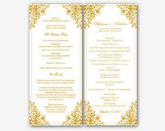 Gold Microsoft Word Floral corner Wedding Program by Digidigi, $7.00