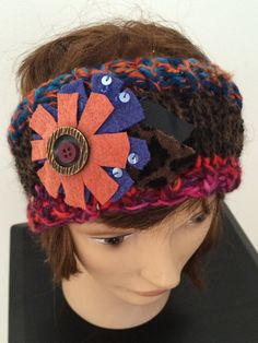 COMFY.  Hand knit one of a kind wearable fiber art embellished with old buttons and recycled materials.  Free Shipping on All Orders!
