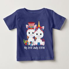 Patriotic baby unicorns add message t-shirt #independenceday #july4th #baby #tshirts