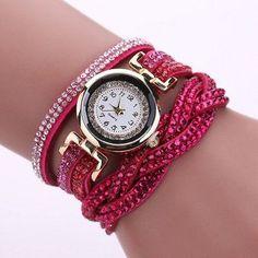 New Luxury Bracelet Watch Women Casual Quartz Watch Rhinestone PU Leather Ladies Dress Watches Fashion Wristwatch Gift