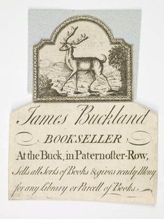 Illustrated trade card of James Buckland, bookseller.    Production Date:  1701-1750