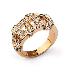 18k Rose Gold Plated Clear Women Nest Wrap Ring Made With Swarovski Crystal R111