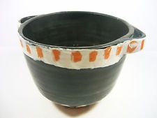 "GORKA LIVIA, BLACK RETRO PLANT-POT WITH ORANGE STRIPES 7.6"", 1950'S ART POTTERY!"