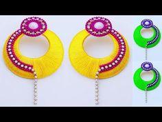 Silk Thread Jewelry Making // earring Tutorial // Beautiful Silk thread earrings at home Silk Thread Bangles Design, Silk Thread Necklace, Beaded Necklace Patterns, Thread Jewellery, Jewelry Patterns, Diy Jewellery, Jewelery, Handmade Jewelry, Necklace Tutorial