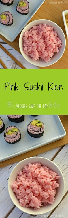 Pink Sushi Rice is easy to make and fun to use in sushi rolls and bowls. The pink adds a fun twist to your meal thanks to the secret ingredient, beet juice. Delicious Vegan Recipes, Vegetarian Recipes, Healthy Recipes, Thm Recipes, Healthy Eats, Healthy Foods, Riced Veggies, Eating Vegetables, Going Vegan