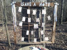 Leave-a-Note for Wedding Couple on Old Window with Clothes Pinned Notes hung on Jute String by JuteAndThistle on Etsy