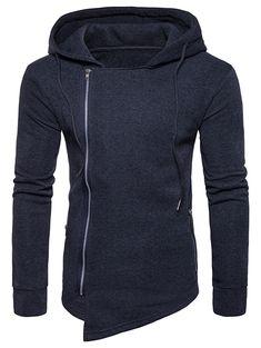 Hooded Drawstring Asymmetric Zip Up Hoodie - Deep Gray - - Men's Clothing, Men's Hoodies & Sweatshirts # Hoodie Outfit Casual, Tall Men Fashion, Men's Fashion, Camouflage Sweatshirt, Mens Clothing Styles, Men's Clothing, Hoodie Jacket, Shirt Style, Zip Ups
