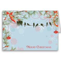 Silhouette Flock of Birds Christmas Greeting Card