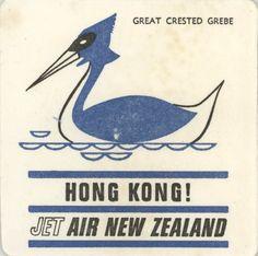 Coaster: Air New Zealand. Hong Kong. Great Crested Grebe