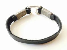 Men's leather #bracelet Black flat and Grey Wax Cord cuff men's bracelet with…