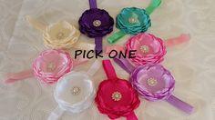 Pick One Cabbage Rose Headbands Baby Headband Cabbage Satin