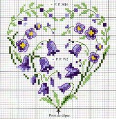 cross stitch chart heart with little purple flowers