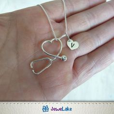 Nurse Jewelry, Jewelry Gifts, Handmade Jewelry, Medical Gifts, Sterling Silver Chains, Heart Shapes, Etsy, Physician Assistant, Medical School