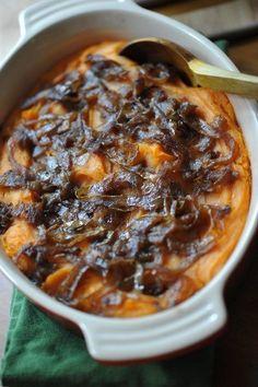 Semi-Sweet Potato Mash with Spiced Caramelized Onions #Recipe #Vegetarianrecipesforalltastes