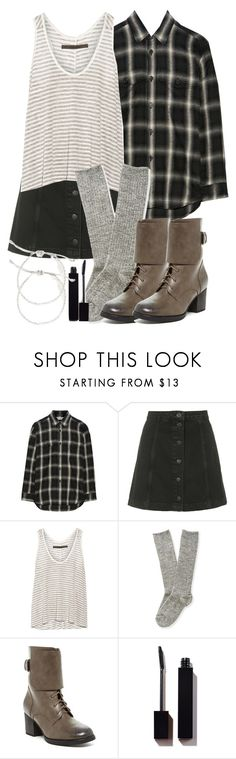 Malia Inspired Outfit with a Black Buttoned Denim Skirt by veterization on Polyvore featuring Yves Saint Laurent, Enza Costa, Aéropostale, Topshop, Bucco, Warehouse and Serge Lutens