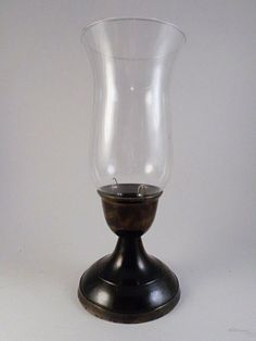 """Hurricane Candle Taper Holder Glass Globe Pewter Tone 11.5"""" Tall Metal #Unknown"""