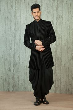 black indo western , sangeet outfit , cocktail outfit , black bandhgala with dhoti , dhoti jacket silhouette