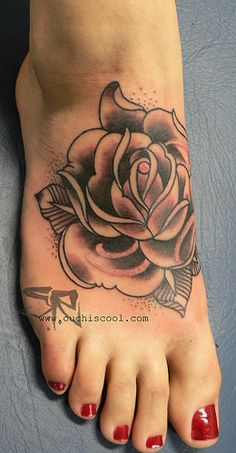Rose Flower Tattoo Pictures on Foot - Tattoo Ideas for Women