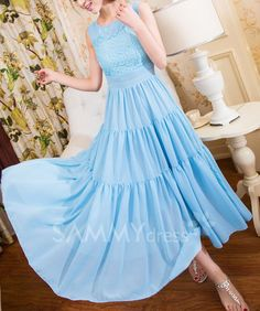 $12.48 Lace Splicing Scoop Neck Solid Color Wide Hem Chiffon Sundress For Women
