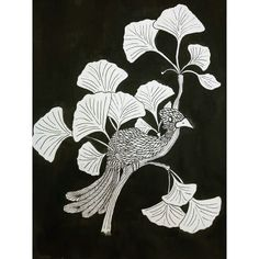 Ginkgo biloba and bird
