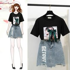 Classic Bow T-Shirt + Denim Skirt Set – Orchidmet Fashion Drawing Dresses, Fashion Illustration Dresses, Fashion Dresses, Cute Fashion, Look Fashion, Girl Fashion, Kpop Outfits, Korean Outfits, Korea Fashion