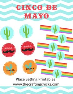 cinco de mayo printables - could use the circle images on top of cupcakes, use the other for napkin rings #free #printable #cincodemayo