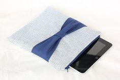 Seersucker and navy Zipper iPad Sleeve by Oliviaavenue on Etsy, $30.00