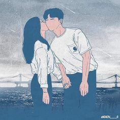 Cute love shared by Vaiva Padegimaitė on We Heart It Cute Couple Drawings, Cute Couple Art, Anime Love Couple, Couple Cartoon, Love Drawings, Cute Anime Couples, Cartoon Kunst, Cartoon Art, Art And Illustration