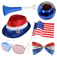 Patriotic 4th of July Party Table Star Lights Battery LED 3pc Decor Decorations