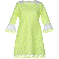 Manoush Short Dress (€405) ❤ liked on Polyvore featuring dresses, acid green, green long sleeve dress, long-sleeve mini dress, flare dress, embroidered dress and short flare dress