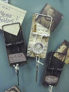Altered mouse traps! These make such cute memo holders for the fridge! Handmade by Lori Compton of One Vintage Lane in Hartville, Ohio