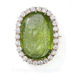 Antique Carved Peridot Cameo and Diamond Brooch Pendant - 50-1-2887 - Lang Antiques  $12,000  wow