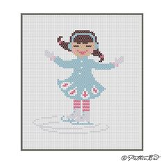 A Little Girl Ice Skating II. Instant Download PDF by PatternBird