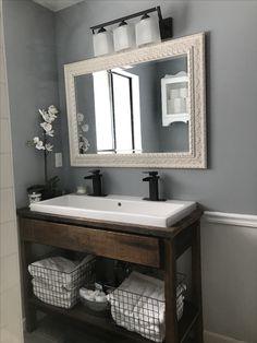 Trough Sink Bathroom, Small Bathroom Sinks, Retro Bathrooms, Bathroom Renos, Bathroom Renovations, Modern Bathroom, Country Bathrooms, Basement Bathroom, Master Bathroom