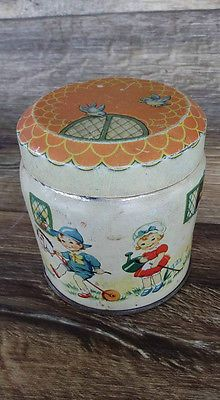 Vintage THORNE'S ENGLISH TOFFEE TIN CAN England BOY GIRL HOUSE DOG CAT DUCK BIRD
