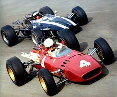F1 Historic - The victory lane...Ludovico Scarfiotti and Jochen Rindt battling in the 1966 Italian Grand Prix at Monza.